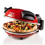 Ariete 909, Pizzaofen, 400°C, Platte aus feuerfestem Stein, backt Pizza in 4 Minuten, 33 cm Durchmesser, 1200 Watt, 30-Minuten-Timer, Rot